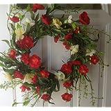 Red Poppy Delight Silk Floral Wreath Front Door Indoor Seasonal Decor Spring Summer