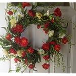 Red-Poppy-Delight-Silk-Floral-Wreath-Front-Door-Indoor-Seasonal-Decor-Spring-Summer
