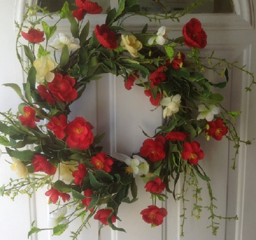 Red Poppy Delight Silk Floral Wreath Front Door Indoor Seasonal Decor Spring ()