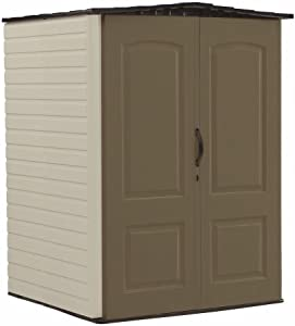 Rubbermaid Outdoor Medium Storage Shed, Large Vertical, Brown