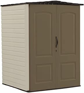 product image for Rubbermaid Medium Vertical Resin Weather Resistant Outdoor Garden Storage Shed, 5x4 Feet, Brown