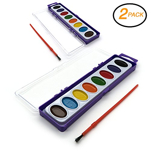 (Emraw Assorted 8 Ct Color Washable Paint Easy Take-Off Semi Moist Watercolors with Brush Art Craft Tool - for School & Home (Pack of 2))