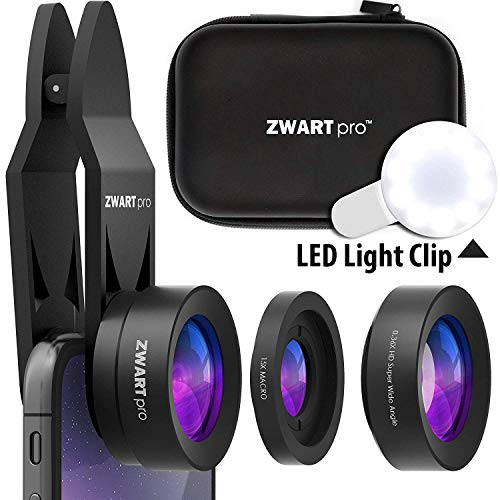 Phone Camera Lens Kit | ZWARTpro Cell Phone Lens, 2 in 1 Wide Angle & Macro Camera Lens for iPhone, iPad, Android Smartphones & Tablets, LED Light, Travel Case (EagleEye 32mm)