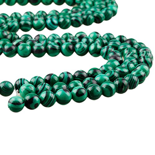 SUNYIK Green Malachite Loose Bead for Jewelry Making 12mm Round 15 (Green 12mm Round Bead)