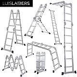 Luisladders 12.1FT Folding Ladder Multi-purpose Aluminium Extension 7 in 1 Step Heavy Duty Combination EN 131 Standard