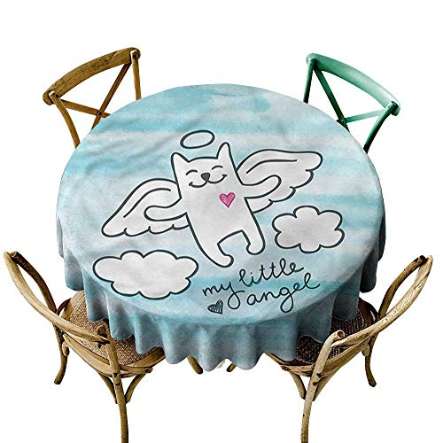 familytaste Kitten, Round tablecloths Cute Cat Angle Wings in Sky D 70