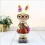 Goodscene Cartoon Piggy Bank Big Ears Garden Rabbit Piggy Bank Glasses Rabbit Resin Ornaments (Pink)