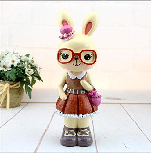 Goodscene Cartoon Piggy Bank Big Ears Garden Rabbit Piggy Bank Glasses Rabbit Resin Ornaments (Pink) by Goodscene