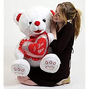 Amazon Com Big Plush White Soft Valentines Day Teddy Bear 30 Inch