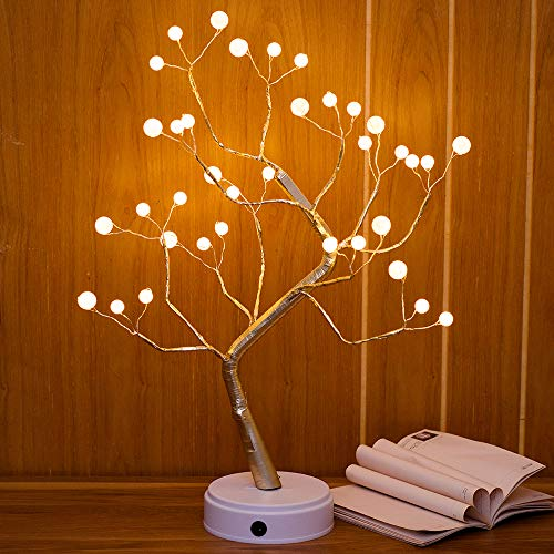 Qunlight Upgraded Copper Wire Tree Branch Lights,USB&Battery Powered,20Inch 36 Warm White LED with 36 White Pearls,Table Lamp for Home Decoration, Wedding Sign,Living Room,Bedroom(Warm White Pearl)]()