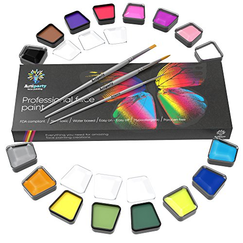 - Face Paint Set – Make up Paint – Premium Adults & Kids Face Painting Kit – Paints More Than 120 Faces – Non-Toxic & Hypoallergenic – Easy to Apply & Remove