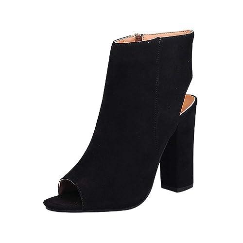 Daytwork Zapatos para Mujer Botas Tacón Alto - Mujer Punta Abierta Botines Cremallera Lateral Peep Toe Espalda Abierta Plataforma Delgado Sandalias de ...