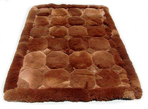 """Alpakaandmore Original Peruvian Alpaca Fur Rug Rhombus Designs Natural Brown (90 x 60 cm/ 35x23.6"""")"""