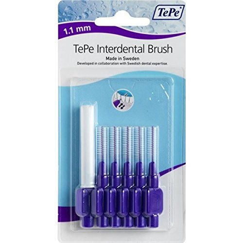 Tepe 1.1 mm Interdent Purple Brushes - Pack of 6 Health 2493252