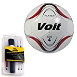 Voit Size 4 Player Soccer Ball with Ultimate Inflating Kit, White and Red Graphic