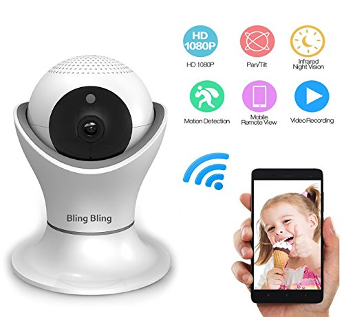 360° Home Wireless IP Camera 1080P HD Two Way Talk Indoor Security Surveillance Camera with Night Vision and Motion Detection for Baby Elder Pet Nanny Monitor by Bling Bling