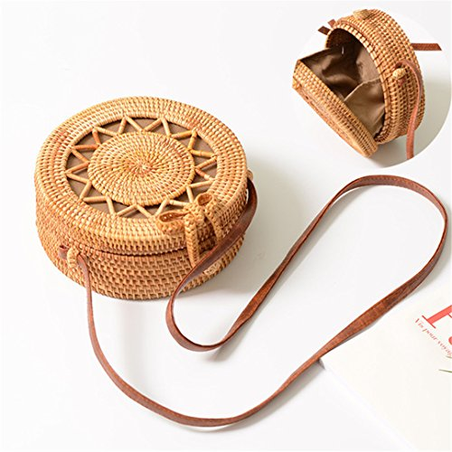 Intrecciata Estivi Fiori W Rattan Donne Handmade Rotondi Crossbody Delle Borsa Di Da Paglia Spiaggia Borse RZ4twxq8