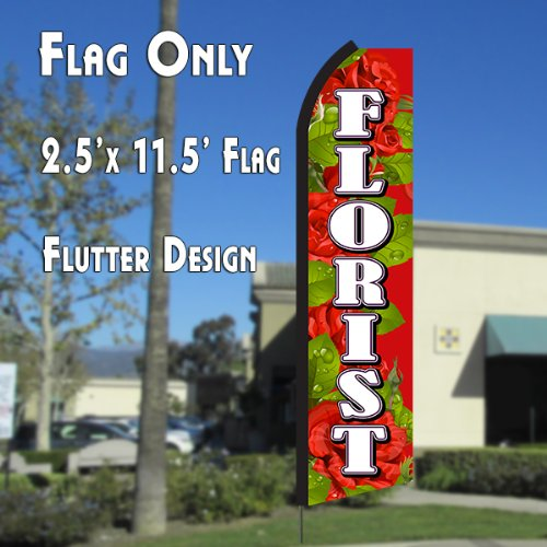 Cheap FLORIST (Red/White) Flutter Polyknit Feather Flag (11.5 x 2.5 feet)