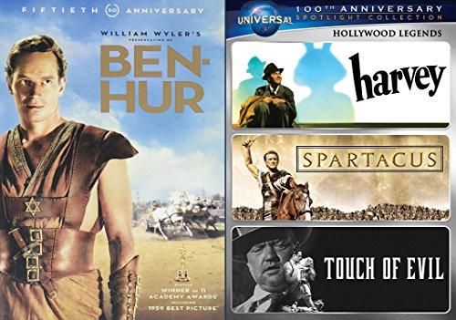 Ben Hur (50th Anniversary Edition) and Spartacus (with Harvey & Touch of Evil) 5-DVD Bundle - Charlton Heston Orson Welles