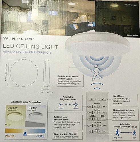 winplus led ceiling light with motion sensor and remote amazon com rh amazon com