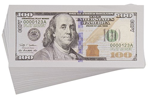 100-Pack Copy $100 One Hundred Dollar Bills, Realistic Play Money That Looks Real, Double-Sided Pretend Play Prop Money for Movies and Educational Tools, 5 x 2.5 Inches ()