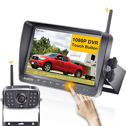 AMTIFO A8 HD 1080P Wireless Backup Camera with 7 Inch DVR Monitor Rear View Camera System for RVs,Trailers,Trucks,5th…