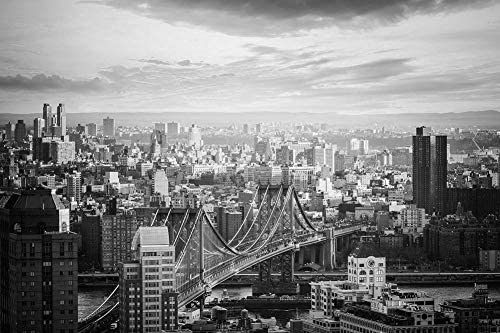 マンハッタン橋の壁紙-世界の壁紙-#23199 - 白黒の キャンバス ステッカー 印刷 壁紙ポスター はがせるシール式 写真 特大 絵画 壁飾り75cmx50cm