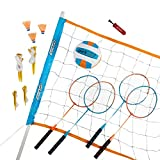 Parkside Outdoor Volleyball Badminton Combo Set with Carrying Case