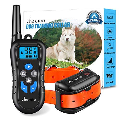 zhaomu Dog Training Collar 1000yard Remote Range Dog Shock Collar with Tone/Vibration/Static Shock,Rechargeable E-Collar…