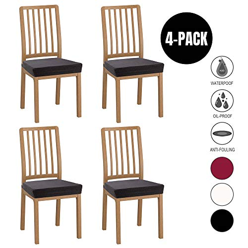 - Wannafree Dining Room Chair Seat Covers - 4 Pack Spandex Stretch Desk Chair Covers for Dining Room - Premium Jacquard Office Computer Chair Seat Protectors Chair Slipcovers - Black