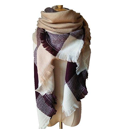 Besnli Large Striped   Checker Pattern Blanket Scarf Tartan Stylish Cape Wrap Shawl  Beige Coffee