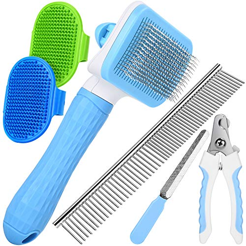 [UPGRADED] Grooming Tool Set for Cats & Dogs, Including Self-Cleaning Slicker Brush, 7.5″ Steel Comb, Nail Clippers & File, 2 Bath Brush, Great for Small & Medium Pet with All Hair Types