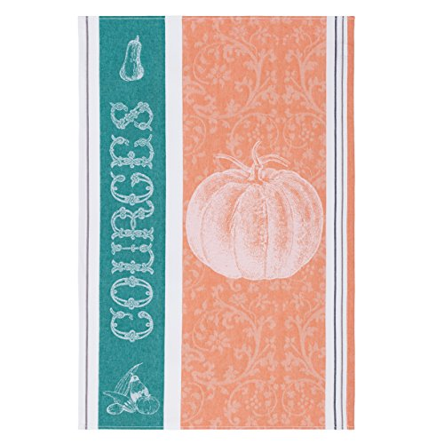 Coucke French Jacquard Cotton Kitchen Dish Towel Produce Collection, Squash FB Pattern, 19 by 29-Inch, Orange