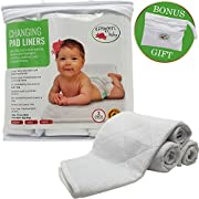 Changing Pad Liners, 3 Pack XL, Longer Thicker Wider, Premium Quilted Absorbent, Non-Slip, Bamboo Rayon, Waterproof, Washable and Dryer Friendly, Changing Table Liners, Free Wet Dry Bag for Diapers