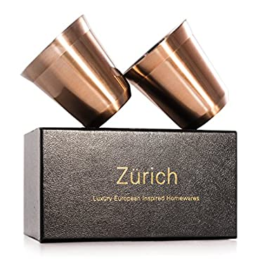 Espresso Cups - 2 x Double Wall Stainless Steel Espresso cup in Beautiful Copper Finish by Zurich. Vacuum insulated. 5.5-oz alternative for DeLonghi, Bodum and Nespresso Cups. European size for latte.
