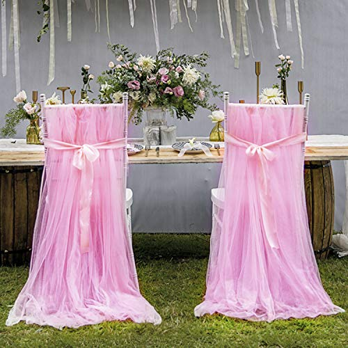leegleri 2pcs Pink Tulle Chair Cover Fluffy Tutu Chair Skirt for Bridal Shower, Wedding,Baby Shower Decoration Long Tulle High Chair Skirt Slipcovers