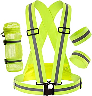 Reflective Vest Comfortable for Running or Cycling Safety Gear with Back Pocket - Water Bottle Holder - Outdoor Reflector Wrist Arm Ankle Band Set