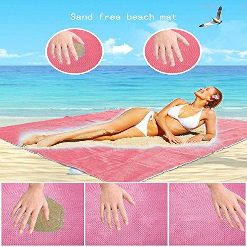 Sand Camping Mat Picnic Mattress,Sand Proof Blanket,Sand Free Beach Mat-Pink