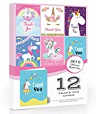 12 x Bright Unicorn Thank You Cards by Olivia Samuel - Folding Style Multipack - Set 5 (Unicorn Collection) with Envelopes