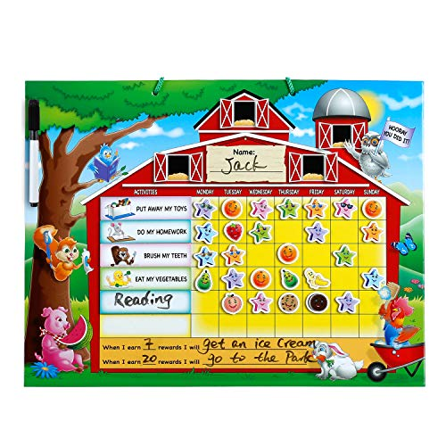 "ZazzyKid Reward Task Chore Chart – Encourage Responsibility and Positive Behavior Magnetic Board 16.5"" x 12.6"""