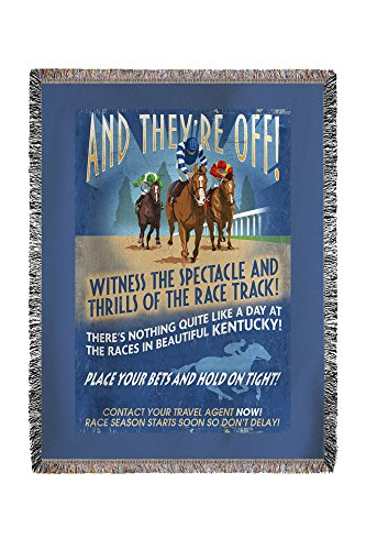 Kentucky - Horse Racing Vintage Sign (60x80 Woven Chenille Yarn Blanket)