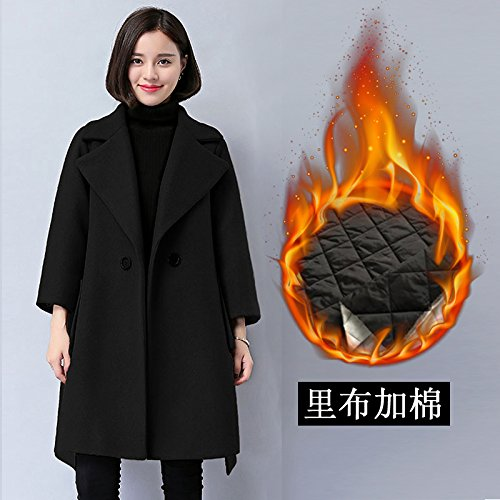 ZRLsly Woolen Coat Female Winter Cloak With Cotton Thickened In The Long Loose Black Wool Coat Xxxl Black And Cotton