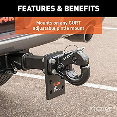 CURT 48231 Pintle Hook Hitch, 60,000 lbs, Fits 2-1/2 to 3-Inch Lunette Ring, Mount Required: Automotive