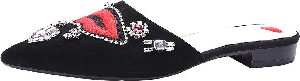 Calaier Mujer CaInternet Bloquear 1.5CM Cuero Ponerse Zuecos Zapatos 34.5|Negro