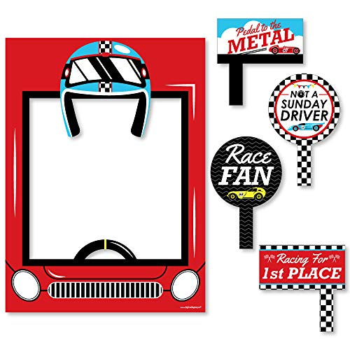 Big Dot of Happiness Let's Go Racing - Racecar - Baby Shower or Race Car Birthday Party Selfie Photo Booth Picture Frame & Props - Printed on Sturdy Material