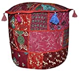 Lalhaveli Handmade Foot Rest Round Ottoman Cover for Gift Item 18 X 18 X 14 Inches