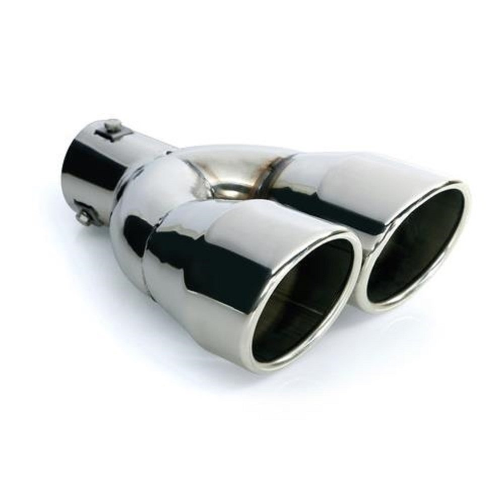 CARTUNER® - Deflettore di scarico doppio per tubo di scappamento, 2 x 90 mm, per tubo di scappamento 36-48 mm, effetto acciaio INOX CARTUNER®