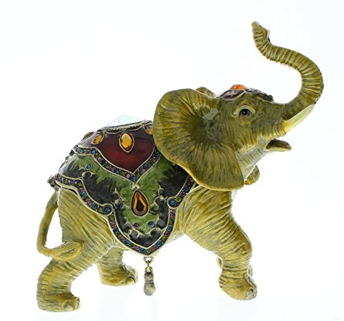 Crystal Dragonfly Trinket Box - Elephant Trinket Box, Hand Set Swarovski Crystal, Hand Painted Brown with Multi Color Saddle Enamel, Inside Of Box with Lovely Enamel, L 2.75 X H 3.00 X W 1.00