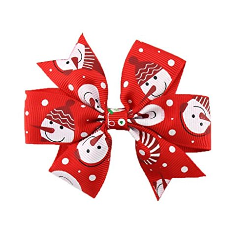 Gillberry Girls Christmas Hair Accessories For Girls Infant Hairpin (Red A) (Baby Basket Card Gift Greeting Shower)