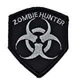 Zombie Hunter Biohazard Symbol 2.5x3 Shield Morale Patch - Multiple Colors (Black with Silver)
